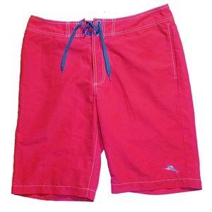 #802 Tommy Bahama Baja Beach Swim Trunks 34 Red